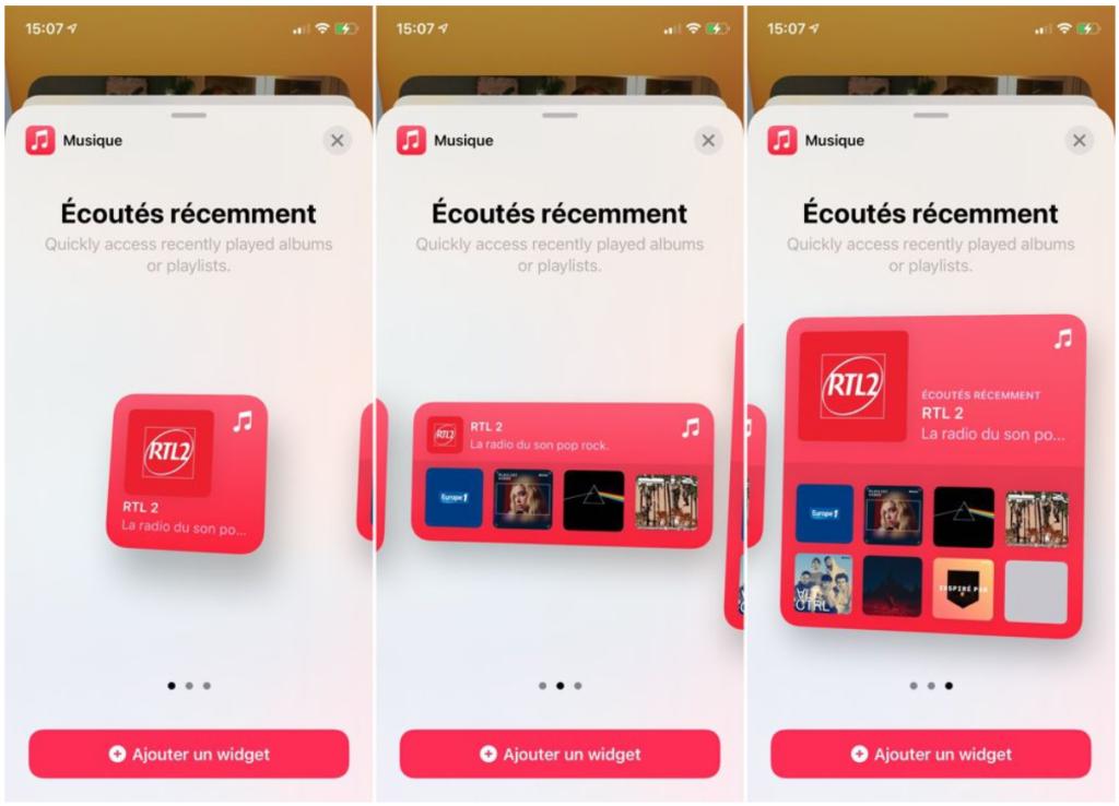 Le nouveau widget de l'application Musique
