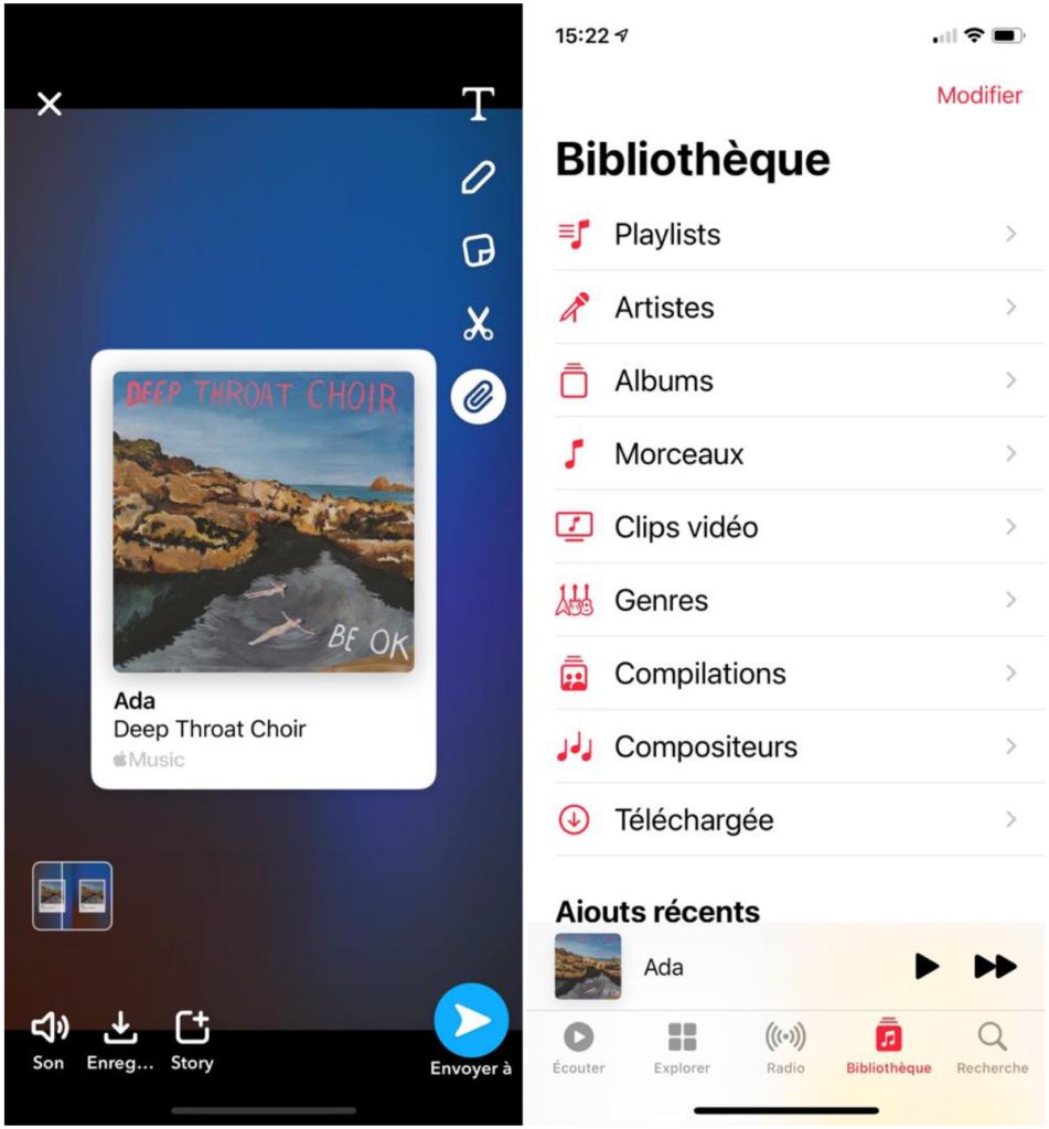 La fonction partage dans la story Snapchat depuis Apple Music