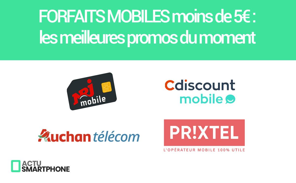 Les promos sur les forfaits mobiles à moins de 5 euros par mois