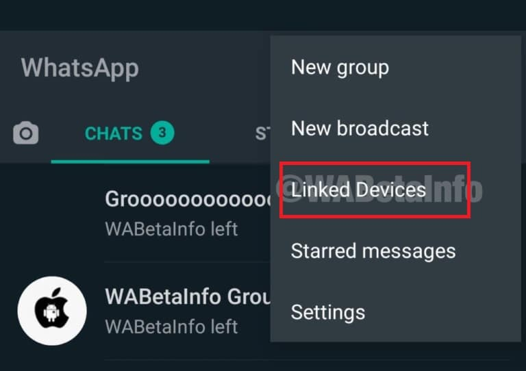 menu appareils associés WhatsApp