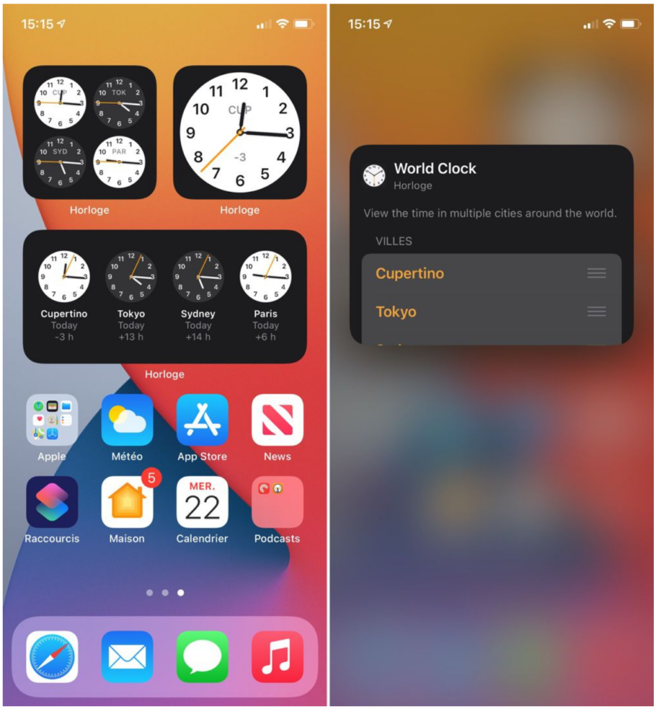 Widget Horloge sur iOS 14 bêta 3