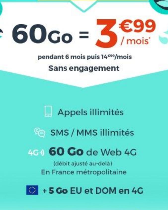promo cdiscount mobile 60 Go