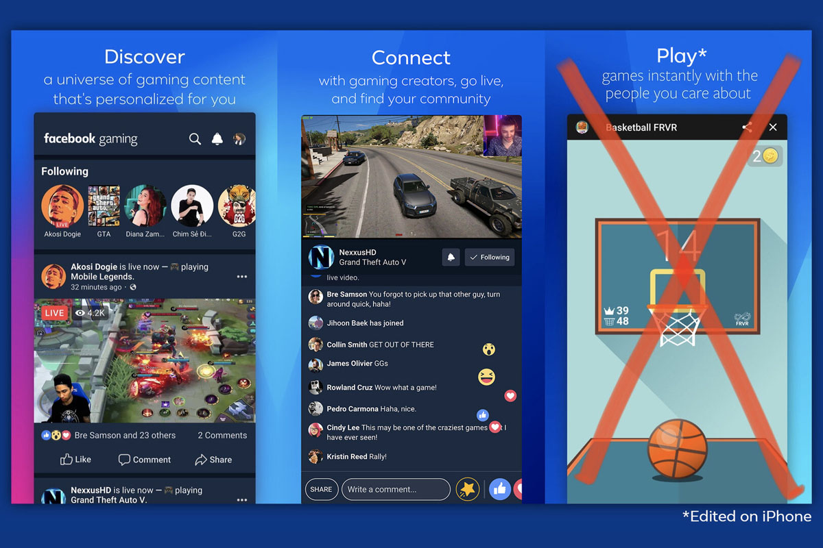 facebook gaming sur ios