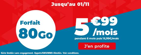 Promo forfait 80 Go Auchan Telecom