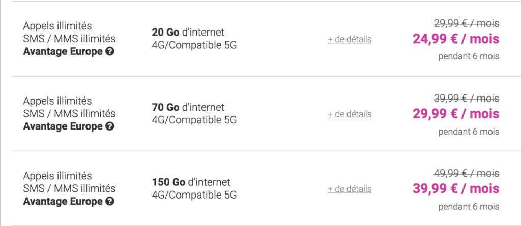 forfaits 5G coriolis
