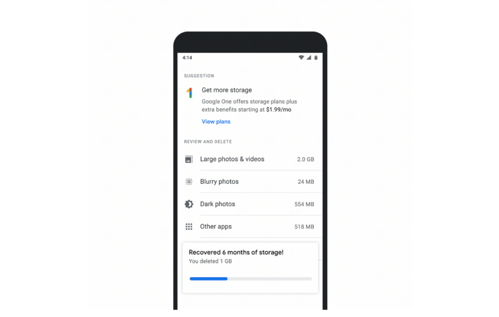 gestion stockage google photos