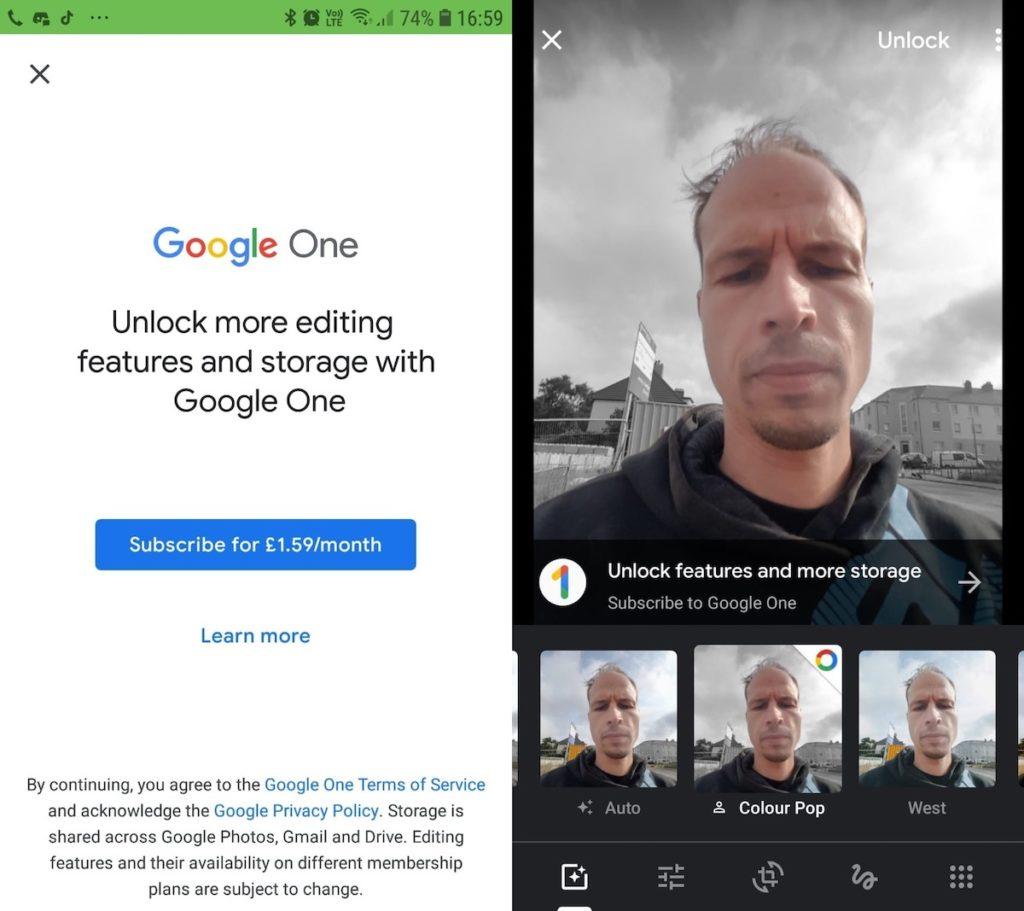 google photos payant