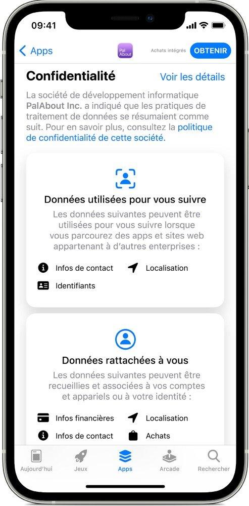 app store accès data iphone