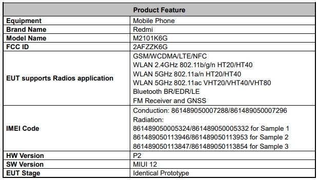 Redmi Note 10 Pro FCC