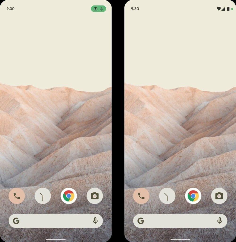 icône confidentialité android 12