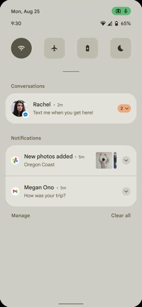 panneau notifications android 12
