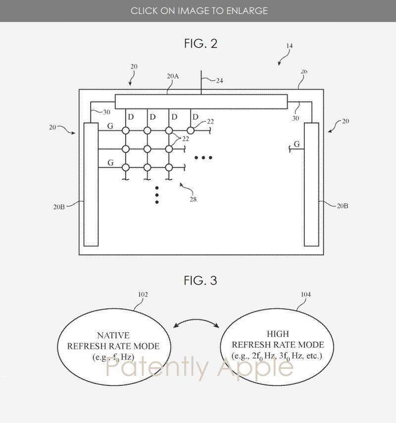 schémas écran 120 Hz apple brevet