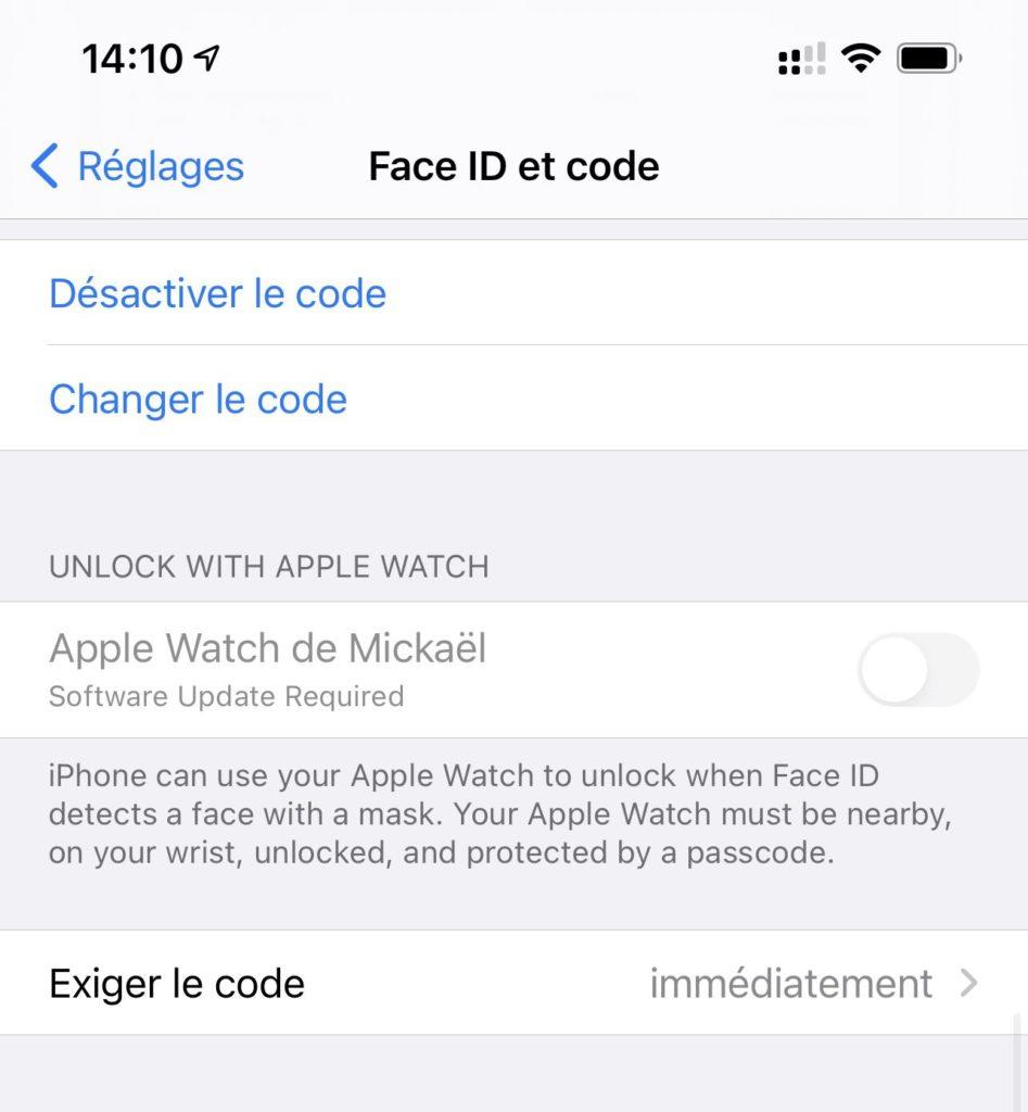 face id masque apple watch iOS 14.5