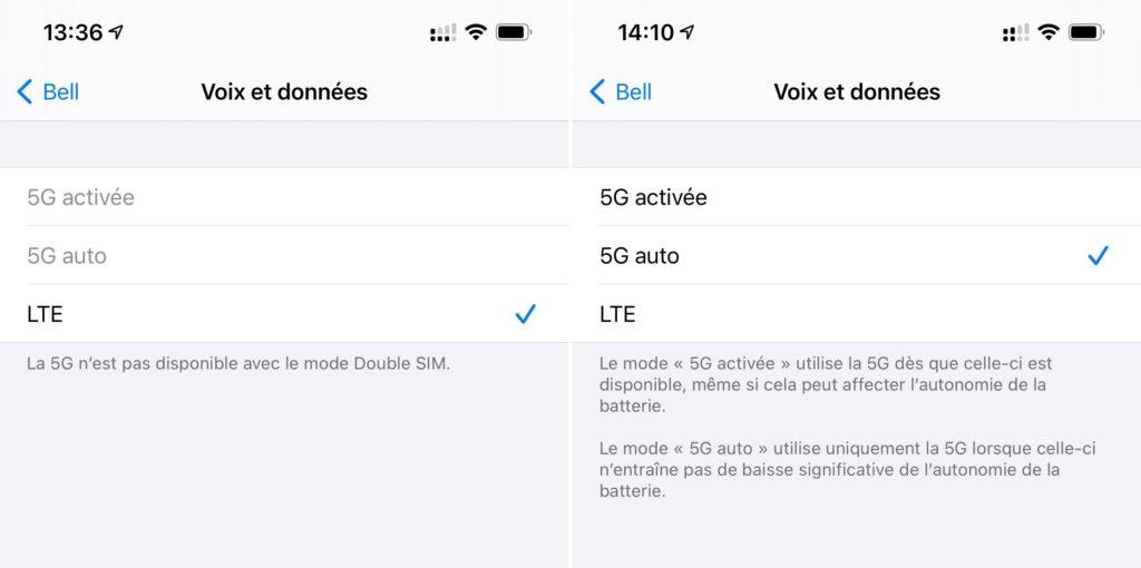 Dual SIM disponible 5G sur iPhone 12