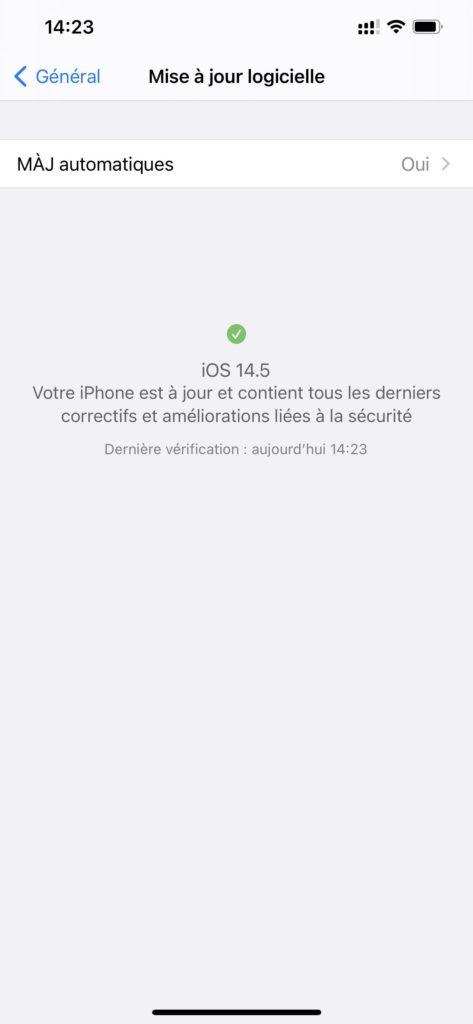 ios 14.5 message mise à jour iphone
