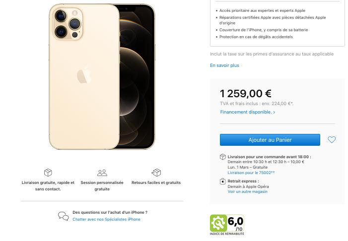 indice réparabilité iPhone 12 Pro Max