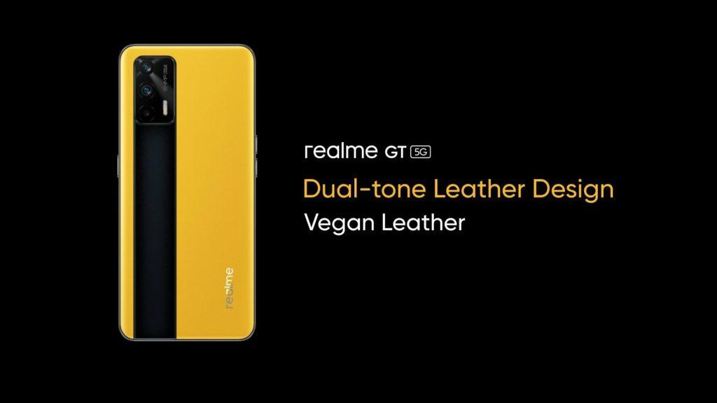 realme GT 5G cuir végétal jaune