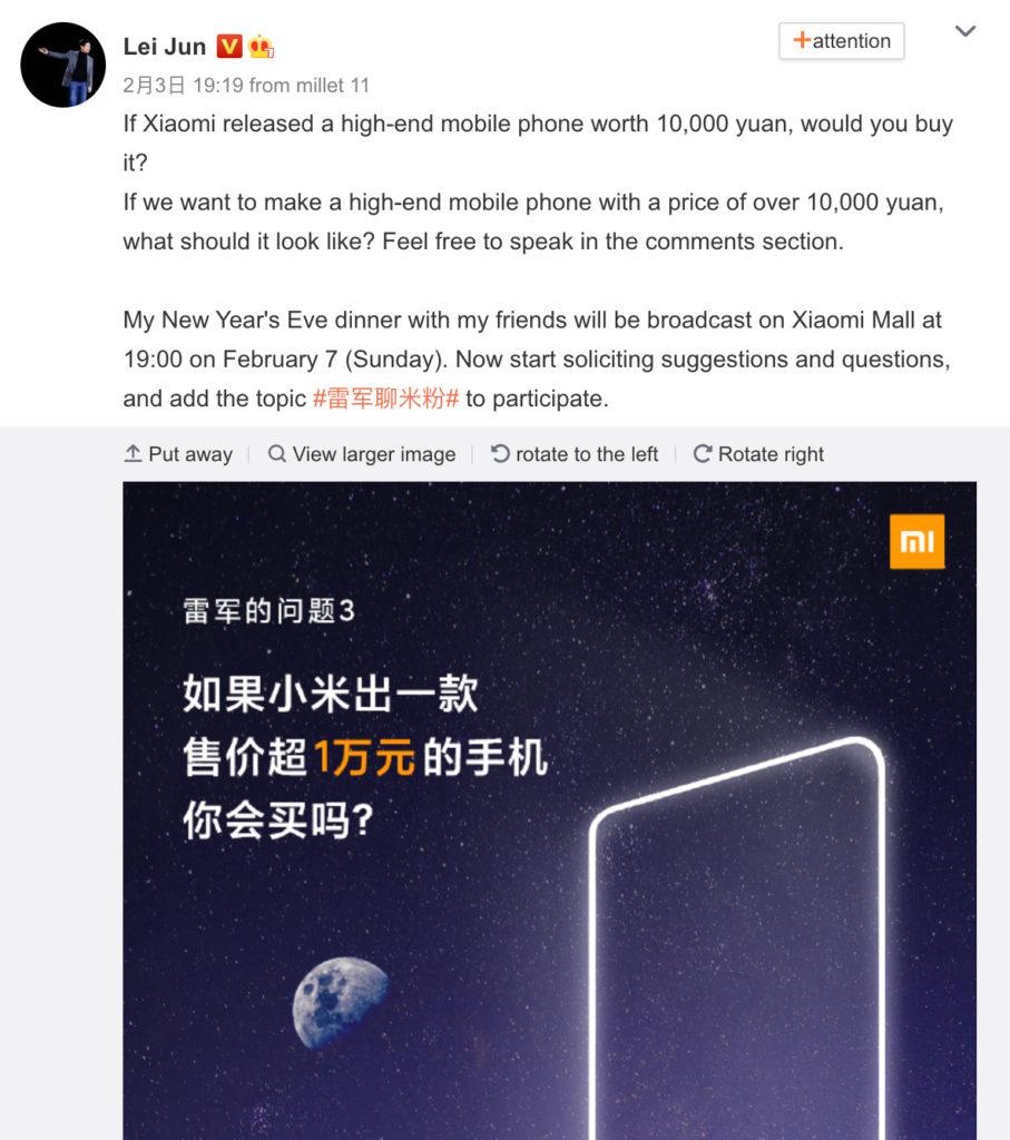 sondage xiaomi lei jung weibo