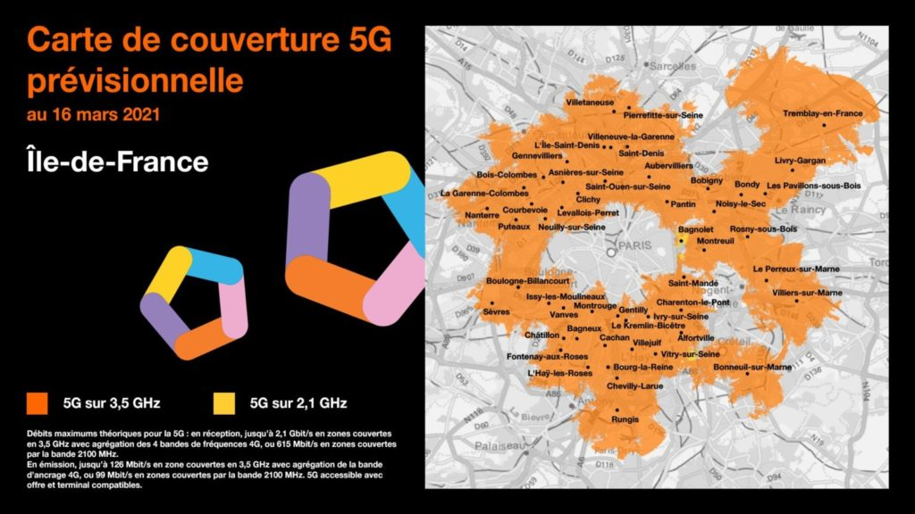 orange carte de couverture 5G Île-de-France