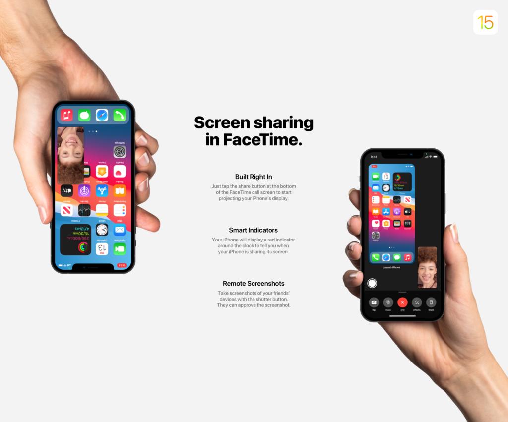 ios 15 facetime partage d'écran