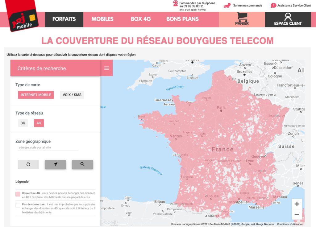 carte couverture 4G bouygues telecom sur NRJ Mobile