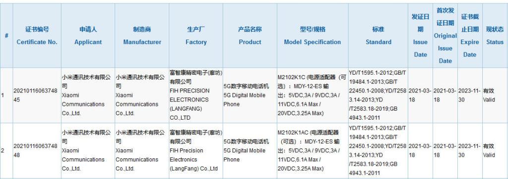 certification 3C xiaomi