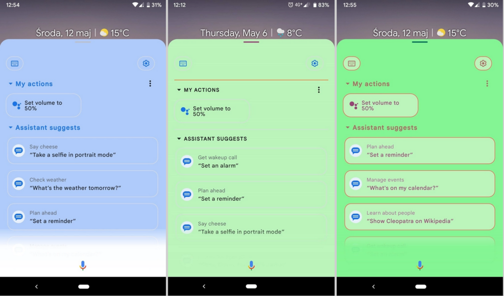 mes actions android 12