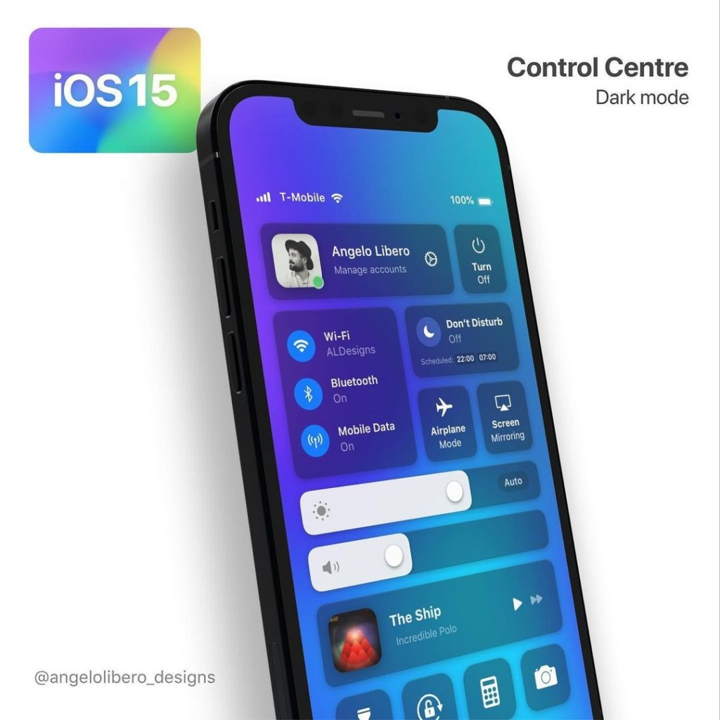 ios 15 concept centre de contrôle