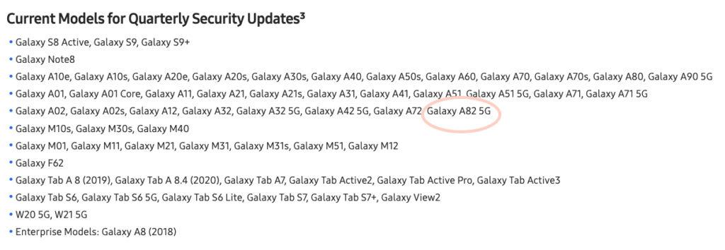 Samsung Galaxy A82 5G page web