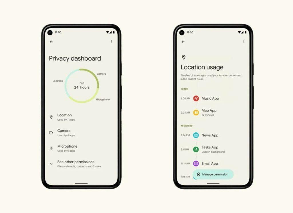 android 12 bêta 2 tableau de bord de confidentialité