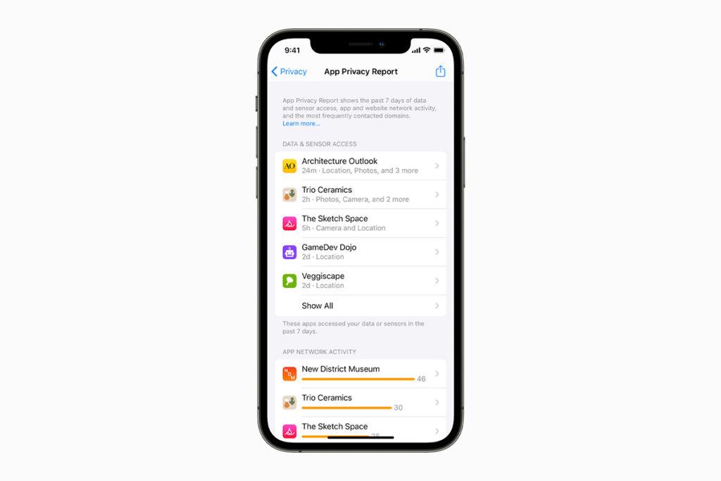 rapport de confidentialité des applications iOS 15