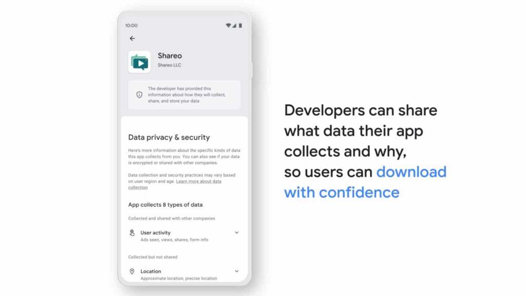 nouvelle section play store vie privée données