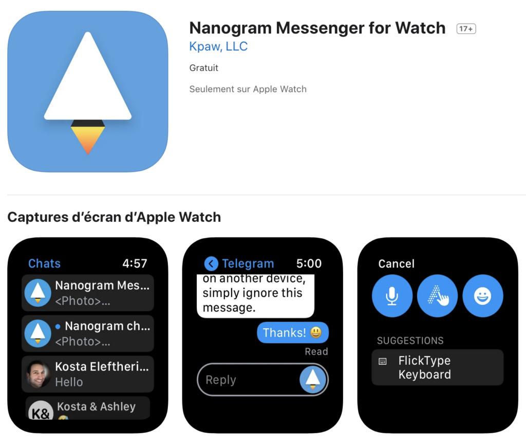 nanogram messenger apple watch