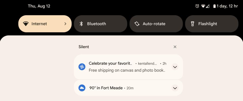 android 12 nouvelles fenêtres notification