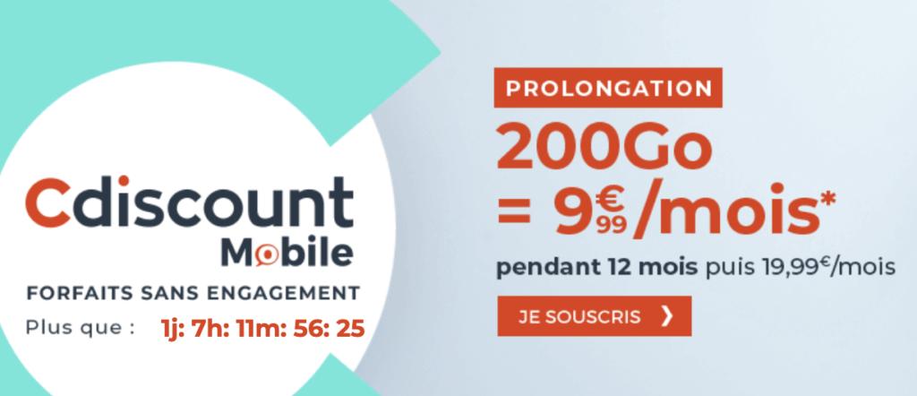 cdiscount mobile 200 Go promo