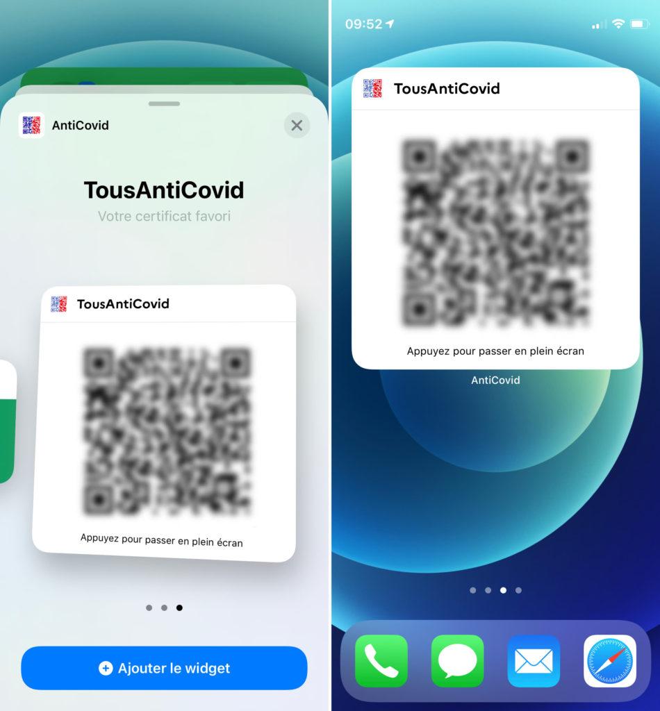 nouveau widget tousanticovid pass sanitaire ios